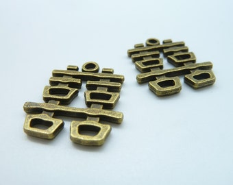 10 pcs 20x22mm Antique Bronze Chinese Character Double Happiness Wedding Decoration Charms c575