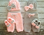 Twin Photography Prop Set in Pale Pink and Gray- Crochet Baby Pants in 3 Sizes- MADE TO ORDER