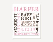 Nursery Art - Baby Name Print Personalized Subway Art - Pink & Brown Customize Colors - Poster Print