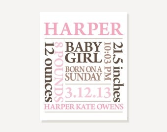 Baby Birth Announcement Art Print Poster Personalized Name Birthdate Nursery Decor Newborn Baby Gift - Pink & Brown or Customize Colors