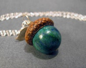 Malachite, Azurite and Pyrite Real Acorn Hat Silver Plated Necklace with Custom Stamp