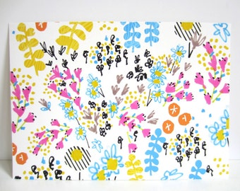 Floral Doodle Garden 1 - Floral Illustration - 8 x 11 inch Giclee Floral Print - Orange, Blue and Pink Flowers