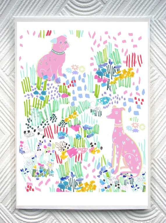 Dogs In A Floral Doodle Garden - 8 x 11 inch Giclee Print - Pug Portrait - Whippet Portrait - Floral Illustration - Abstract Pastel Floral
