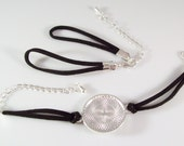 """10 Bracelet Kits - 25mm 1"""" Round Silver Plated Blank Round Bezel Tray and Black Faux Suede Bracelet - With or Without Glass Cabochons"""