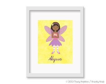 Fairy Princess Little Girl Art -  Children's Decor Nursery Wall Art - Flower Fairy Wall Art African American - 8 x 10 Print