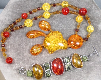Hobo Style Vintage Faux Amber Beaded Necklace and Bracelet