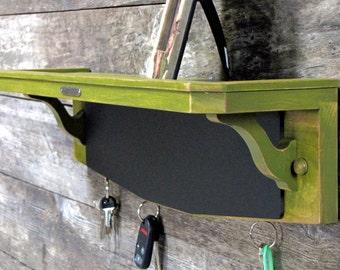 SALE! 15% OFF! Key Rack Chalkboard Shelf Organizer in Okra Green, Cottage Chic, Shabby Chic