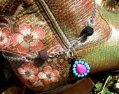 Boot Bling Boot Bracelet - Pink and Blue Teardrop- Pink, Blue, Black, Silver, Chain, Cowgirl, Country