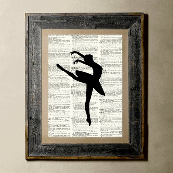 Ballerina(3) - Printed on a Vintage Dictionary, 8X10, dictionary art, paper art, illustration art, collage, wall art, wall decor