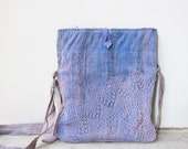 Hand Dyed Bag, cross body Messenger Bag, Hand Woven Cotton and Lace doily , Leather.  Lavender Blue, shabby chic, OOAK  Made to Order
