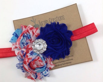 4th of July Headband Red White & Blue Shabby Flower Patriotic USA Photo Prop
