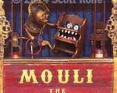 Mouli the Magnificent - Art Block on Wood - with lion