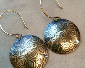 Large Sterling Silver Disc Earrings with a Modern Texture