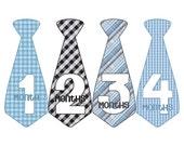 Monthly Boy Tie Stickers, Monthly Bodysuit Stickers, Monthly Stickers, Baby Month Stickers, Monthly Milestone Stickers, Blue Gray (BF058)