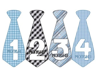 Monthly Boy Tie Stickers, Baby Announcement, Monthly Baby Stickers, Monthly Photos, Baby Gift, First Year Photo Prop, Blue Gray (BF058)