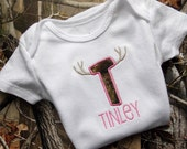 Personalized bodysuit for girl - camouflage letter with horns - hunting bodysuit - camo baby - baby shower gift - made to order