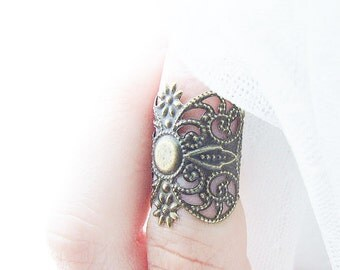 Gothic Armor Ring, Above Knuckle Filigree Ring, Midi Ring