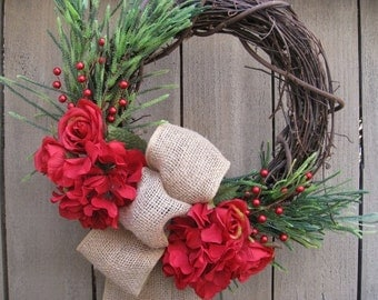 Red Roses Wreath, Christmas Holiday Wreath, Christmas Wreath with Burlap Bow, Red Hydrangea Wreath, Red Floral Wreath, Valentines Day Decor