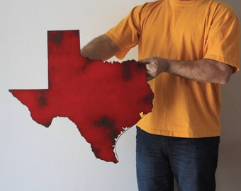 "Texas map metal wall art - 23"" wide - TX wall decor - choose your color - USA art state wall art - dallas austin houston san antonio el paso"
