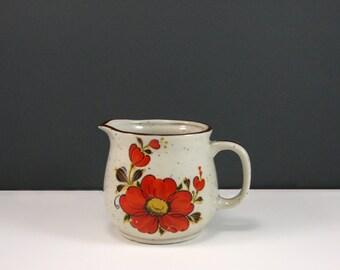 Vintage Floral Stoneware Creamer