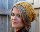 Knitted Slouchy Hat in color Golden Rod - Sizes Toddler, Child and Woman- Other colors available