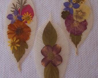 Pressed flowers on leaf skeletons book marks, set of 3. Set 031.