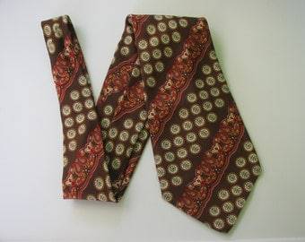 Mens Silk Tie 70s Made in Italy Brown
