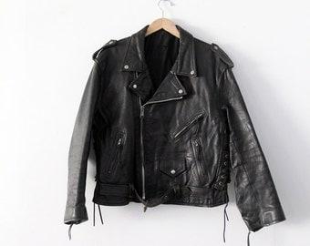 1970s motorcycle jacket, vintage black leather jacket