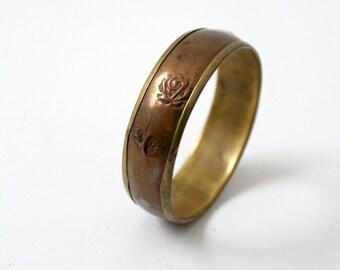 vintage mixed metal bangle,  copper and brass floral bracelet