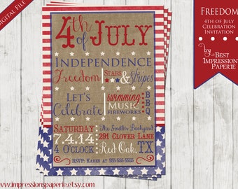 Freedom - A Customizable 4th of July Party Invitation - Independence Day
