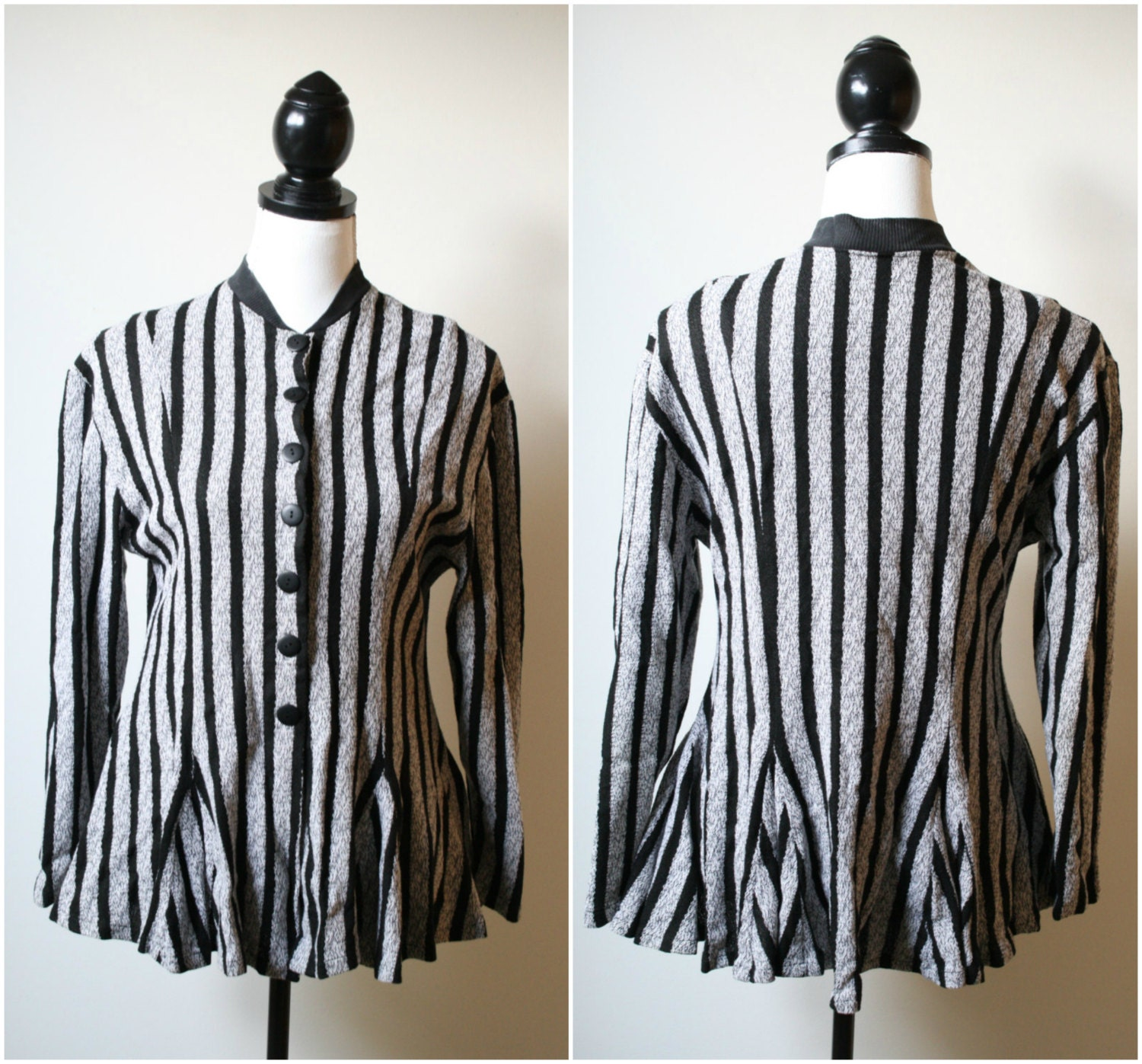 Beetlejuice Blazer - 1980s Knit and Woven Cotton Black and White Peplum Jacket made in Bali M