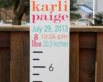 "Growth Chart Ruler - Wooden Custom 8"" x 65"" Unique Baby or Toddler Gift"