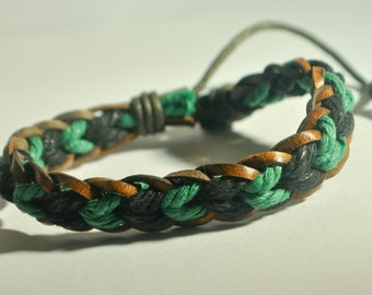 Green and Black hemp cord and Brown leather braided bracelet