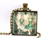 St. Patrick's Day Pendant on Chain, Vintage Style Image