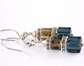Swarovski Crystal Cube Earrings, Sterling Silver, Montana Blue, Crystal Bronze