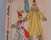 Vintage 1954 Cute child's clown costume by Simplicity size medium
