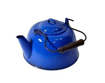 Vintage Blue Enamel Teapot Kettle Royal Blue Tea Kettle Blue Farmhouse Kitchen Decor
