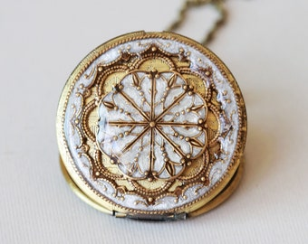 Locket, Jewelry,Necklace,Pendant,Resin locket,Pearl White Locket,Let it go,Gift,Snow,filigree,photo locket , brass locket