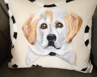 Labador Dog Lovers.  A must have hand painted pillow.
