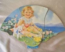 Vintage Trifold Fan Lithograph Little Princess Folding Fan Advertising Fan Vintage 1950s