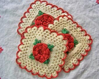 Vintage Pot Holders Hot Pads Red Rose Crochet Kitchen Pad Trio Retro Kitchen Vintage 1950s