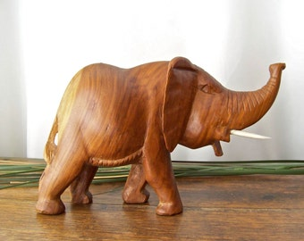 Vintage Elephant Hand Carved Mahogany Wood Elephant Trunk Up Stone Tusks Good Luck Elephant 1960s
