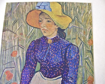 Vintage Van Gogh Print Peasant Girl Masterpiece French Painting Color Plate Classic Art Frameable Print Famous Works of Art Vintage 1950s