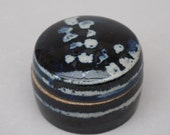 Sale 30 % off at checkout - Stoneware jewellery box with blue and white leaf pattern in wax resist under cobalt blue.
