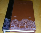 Reserved Listing for Dawn Writing Journal Lined Winter Trees Printed Leather Like Handcrafted Brown