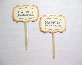 10 Happily Ever After Cupcake Toppers - Vintage Wedding Decoration Favors - Food Picks - Bridal Shower - Tea Party - Cupcake Picks -V