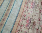 BEAUTIFUL c1895 Antique 19th Century French Embroidered Fabric Floral Blue Stripe M8