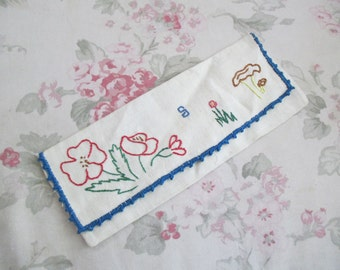Vintage Linen Childs Flatware Holder Hand Embroidered Flowers Wild Mushrooms Monogram Letter S Blue Trim W25