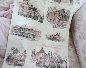 Vintage Printed Souvenir Kitchen Towel - Linen Australia Early Sydney Buildings Houses Heil Q129