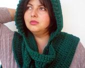 Deep Green Fashion Hooded Scarf Super Soft Acrilyc Yarn Hooded Neckwarmer Woman Hood Scarf NEW